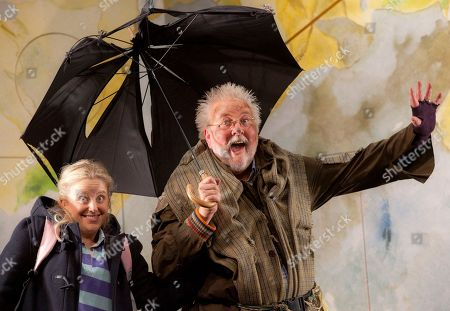 Stock Photo of Peter Edbrook, Lotte Gilmore British actors Peter Edbrook, as Mr Stink, and Lotte Gilmore, as Chloe, perform a scene from Mr Stink, a musical adaption based on the children's novel by David Walliams