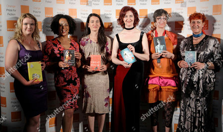 Stock Photo of Emma Donoghue, Aminatta Forma, Emma Henderson, Nicole Krauss, Tea Obreht, Kathleen Winter Shortlisted authors, from left, Tea Obreht, Aminatta Forma, Nicole Krauss, Emma Donoghue, Kathleen Winter and Emma Henderson pose with their books before the announcement of the 2011 Orange Prize for Fiction, during the awards ceremony at the Royal Festival Hall in London