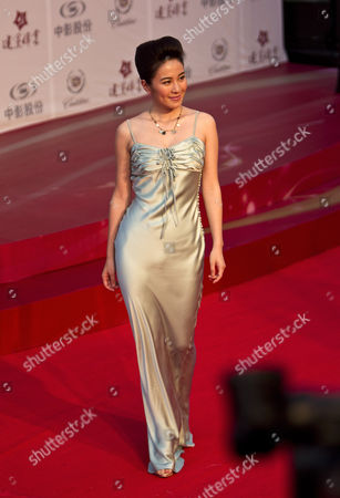 Stock Image of Michelle Ye On, Chinese actress Michelle Ye arrives for the movie premier of 'Beginning of the Great Revival' in Beijing