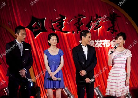 "Liu Ye, Li Qin, Feng Yuanzheng, Michelle Ye Chinese actor and actress, from left, Liu Ye, Li Qin and Feng Yuanzheng listen to Michelle Ye talk during a press conference for the ""Beginning of a Great Revival"" in Beijing, China, . Chinese movie stars have gathered to launch the blockbuster propaganda movie celebrating the 90th anniversary of the Chinese Communist Party"