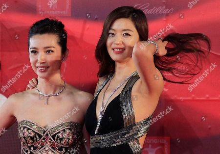Gianna Jun, Li Bingbing South Korean actress Gianna Jun, right, and Chinese actress Li Bingbing, left, pose together on the red carpet prior to the opening ceremony of the Shanghai International Film Festival at Shanghai Grand Theater, in Shanghai. China