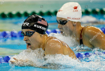 Stock Picture of Ariana Kukors, Julia Wilkinson Ariana Kukors of the U.S. competes with Canada's Julia Wilkinson, right, in the semifinals of the women's 200m Individual Medley event at the FINA Swimming World Championships in Shanghai, China