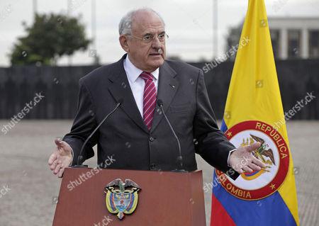 Nelson Jobim Brazil's Defense Minister Nelson Jobim talks to the media after a military ceremony in Bogota, Colombia