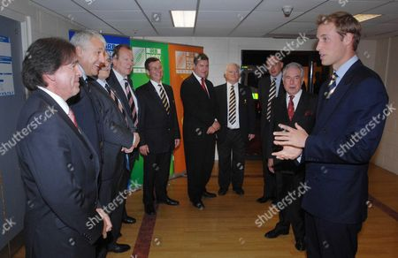 Prince William (right) on his arrival at the Millennium Stadium met by (left to right) Jean Louis Barthes - France 2007 Organising Committee, Claude Atcher - Tournament Director RWC Organising Committee, Bob Tuckey - Director RWC Organising Committee, Bill Beaumont - Vice Chairman IRB & Director RWC OC, Roger Lewis - Group Chief Executive WRU, David Pickering - Chairman WRU and Glanmor Griffiths - President WRU, and (to the left of William) Lord Lieutenant of South Glamorgan Norman Lloyd-Edwards