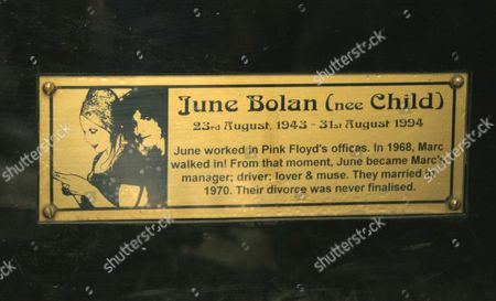 Memorial plaque to Marc Bolan's wife June