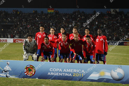 Costa Rica's players pose for pictures during a group A Copa America soccer match against Bolivia in San Salvador de Jujuy, Argentina, . Top row, from left, Oscar Duarte, Diego Madrigal, Jose Salvatierra, Francisco Calvo, Josue Martinez and Joel Campbell. Bottom row, from left, goalkeeper Leonel Moreira, Pedro Leal, Johnny Acosta, Helmer Mora and David Guzman