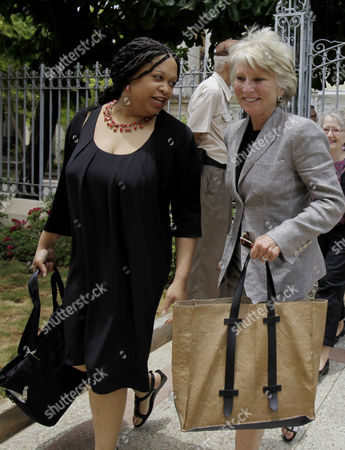 Jane Harman, Mpingo Bugg-Levine Former Democratic Rep. Jane Harman, right, and attorney Ahadi Bugg-Levine arrive at the Cuban National Center for Sex Education in Havana, Cuba, . A group of U.S. women leaders met with Cuba's President Raul Castro's daughter's, Mariela Castro, for an exchange on topics including gender, reproductive health and gay rights. The trip was organized by the Center for Democracy in the Americas, which studies U.S. policy toward countries in the region