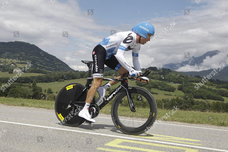 Christian Vandevelde of the US rides during the 20th stage of the Tour de France cycling race, an individual time trial over 42.5 kilometers (26.4 miles) starting and finishing in Grenoble, Alps region, France
