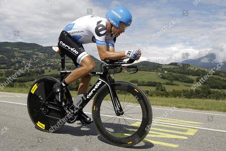 Tom Danielson of the US rides during the 20th stage of the Tour de France cycling race, an individual time trial over 42.5 kilometers (26.4 miles) starting and finishing in Grenoble, Alps region, France