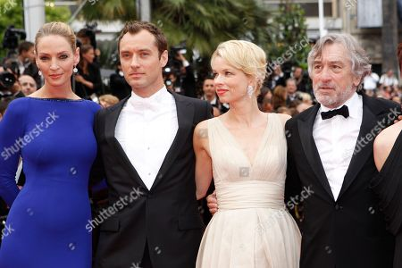 Uma Thurman, Jude Law, Linn Ullmann, Robert De Niro From right, president of the jury Robert De Niro, jury members Linn Ullmann, Jude Law and Uma Thurman arrive for the closing ceremony at the 64th international film festival, in Cannes, southern France