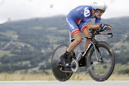 David Zabriskie David Zabriskie, of USA, competes on his way to finish fourth of the third stage of the 63rd Criterium du Dauphine cycling race, a 42,5 kilometers individual time trial, in Grenoble, French Alps