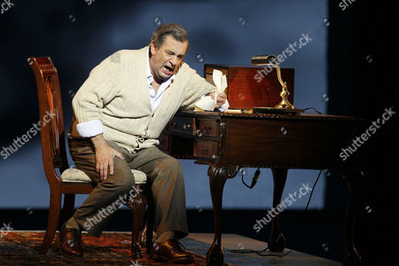 """Stock Image of Placido Domingo Celebrated tenor Placido Domingo, who plays Chilean poet Pablo Neruda, performs during """"Il Postino"""" by the opera's late composer, Daniel Catan, at Paris' Theatre du Chatelet, in Paris, . """"Il Postino"""" is adapted from the award-winning 1994 movie by Michael Radford, itself an adaptation of the novel """"Ardiente Paciencia"""" by Antonio Skarmeta"""