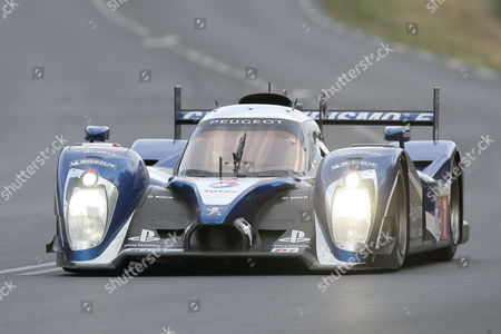 The Peugeot 908 No7 driven by british Anthony Davidson, Marc Gene of Spain and Alexander Wurz of Austria is seen in action during the 79th 24-hour Le Mans endurance race, in Le Mans, western France