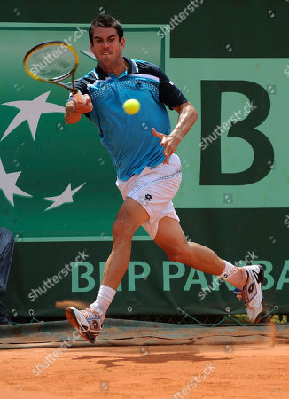 Guillermo Garcia-Lopez Spain's Guillermo Garcia-Lopez returns the ball to United States' Robert Kendrick during their first round match of the French Open tennis tournament, at the Roland Garros stadium in Paris, Sunday, May, 22, 2011