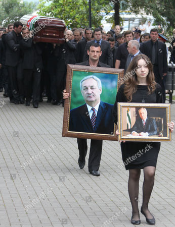A coffin of Abkhazia's separatist President Sergei Bagapsh is carried for a farewell ceremony in Sukhumi, on . Bagapsh died in a hospital on Sunday, May 29, aging 62