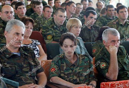 Stock Picture of Abkhazian army officers listeni to Sergei Shamba, one of three presidential candidates, during a meeting at Defence Ministry in Sukhumi, the capital of the Georgian breakaway region of Abkhazia, . The elections were announced for Friday, August 26 following the death of President Sergei Bagapsh in May. All the three hopefuls are seasoned pro-Kremlin politicians opposed to reunification with the central Georgian government