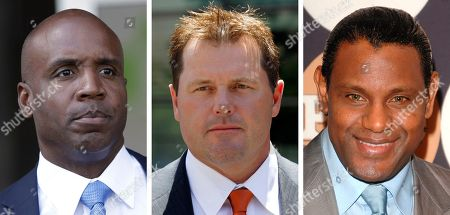 "Former San Francisco Giants baseball player Barry Bonds leaves federal court in San Francisco. At center, in a July 14, 2011 file photo, former Major League baseball pitcher Roger Clemens leaves federal court in Washington. At right in a May 13, 2009 file photo, former baseball player Sammy Sosa attends the People En Espanol ""50 Most Beautiful"" gala in New York. Baseball's all-time home run king and its most decorated pitcher likely will be shut out of the Hall of Fame when the vote is announced in January. An AP survey shows that Bonds and Clemens, as well as Sammy Sosa, don't have enough votes to get into Cooperstown"