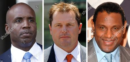"Former San Francisco Giants baseball player Barry Bonds leaves federal court in San Francisco. At center, in a July 14, 2011 file photo, former Major League baseball pitcher Roger Clemens leaves federal court in Washington. At right in a May 13, 2009 file photo, former baseball player Sammy Sosa attends the People En Espanol ""50 Most Beautiful"" gala in New York. Baseball's all-time home run king and its most decorated pitcher likely will be shut out of the Hall of Fame when the vote is announced in January 2013. An AP survey shows that Bonds and Clemens, as well as Sammy Sosa, don't have enough votes to get into Cooperstown"