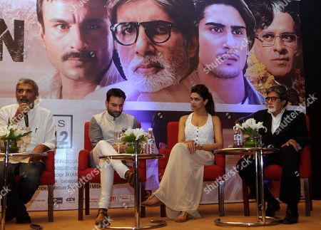 "Amitabh Bachchan, Deepika Padukone, Saif Ali Khan, Prakash Jha Bollywood film director Prakash Jha, left, speaks as actors Amitabh Bachchan, right, Deepika Padukone, second right, and Saif Ali Khan, second left, look on during a press conference to promote their new film ""Aarakshan"" or ""Reservation,"" in New Delhi, India, . The film is scheduled to be released across the country on Aug. 12"