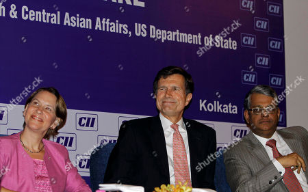 Robert Blake, Beth Payne, R.K. Agarwal U.S. Assistant Secretary of State for South and Central Asia Robert Blake, center, U.S. Consul General in Kolkata Beth Payne, left, and Confederation of Indian Industry Eastern Region Deputy Chairman R.K. Agarwal look on during a seminar organized by Confederation of India Industry in Kolkata, India