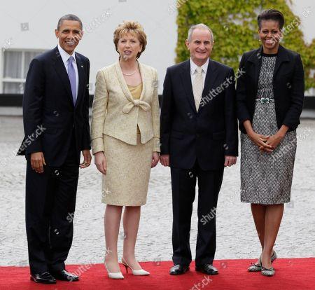 Barack Obama, Michelle Obama, Mary McAleese, Martin McAleese From left, President Barack Obama, President of Ireland Mary McAleese and her husband Martin McAleese, and first lady Michelle Obama, stop to be photographed as President Barack Obama arrives at the Presidential Residence in Dublin, Ireland