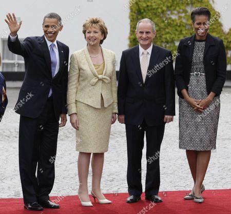 Barack Obama, Michelle Obama, Mary McAleese, Martin McAleese From left, President Barack Obama, President of Ireland Mary McAleese and her husband Martin McAleese, and first lady Michelle Obama pause to be photographed as President Barack Obama arrives at the Presidential Residence in Dublin, Ireland