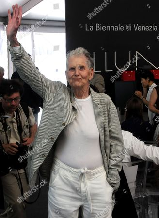 "Stock Picture of Elaine Sturtevant US artist Elaine Sturtevant waves after being awarded the Golden Lion for Lifetime Achievement at the 54th International Art Exhibition ""La Biennale di Venezia"", in Venice, Italy"