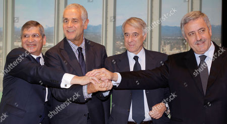 Stock Photo of From left, Israel ambassador in Italy Gideon Meir, Lombardy Region President Roberto Formigoni, Milan's major Giuliano Pisapia and Province president Guido Podesta' attend a news conference in Milan, Italy, . A seminar 'Unespected Israel' will be host in Milan from 13 to 23 of June