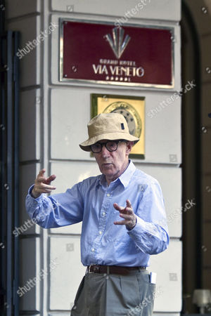 """Woody Allen US Director Woody Allen gestures in Rome's Via Veneto, during the shooting his latest movie """"The Bop Decameron"""". Spanish actress Penelope Cruz will act in the comedy that will also feature among others Roberto Benigni, Jesse Eisenbergh, Ellen Page and Judy Davis"""