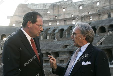Giancarlo Galan, Diego Della Valle Italian magnate Diego Della Valle, right, talks to Culture Minister Giancarlo Galan prior to the start of a press conference at the Colosseum, Rome, to present the restoration of the monument