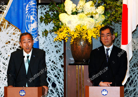 Ban Ki Moon, Takeaki Matsumoto U.N. Secretary-General Ban Ki-moon, left, speaks as Japan's Foreign Minister Takeaki Matsumoto listens during a press conference at the guesthouse of the ministry in Tokyo . U.N. Secretary-General Ban said Japan promised Monday to share invaluable lessons of disaster management and nuclear safety that it learned from March's disasters