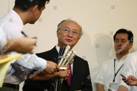 Stock Picture of Yukiya Amano Yukiya Amano, center, director general of the International Atomic Energy Agency (IAEA), answers a question after meeting with Tokyo Electric Power Co. (TEPCO) Chairman Tsunehisa Katsumata and President Toshio Nishizawa, at TEPCO headquarters in Tokyo