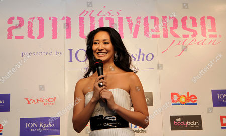 Stock Picture of Maria Kamiyama 2011 Miss Universe Japan Maria Kamiyama delivers her speech during an event to send her off for Miss Universe beauty pageant in Brazil, in Tokyo