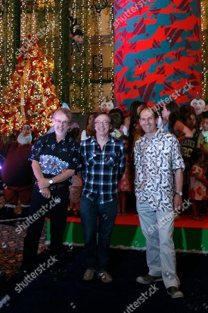 Peter Lord, Peter Baynham, David Sproxton Film director Peter Lord, right, screen writer Peter Baynham, center, and film producer David Sproxton, the three from the UK, pose for photographers during a media event to promote their new movie 'Arthur Christmas' in Cancun
