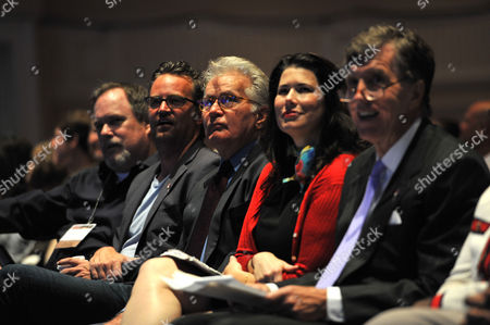 Actors Matthew Perry, Martin Sheen and actress Melissa Fitzgerald, and Former U.S. congressman Jim Ramstad (R-MN) watch as the parade of drug court graduates speak on stage on at the Gaylord National Hotel Resort and Convention Center in National Harbor, MD. The event opened the National Association of Drug Court Professionals 17th annual Drug Court training conference