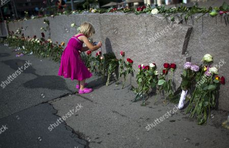 A young girl takes photos at a wall with flowers in memory of the victims of Friday's bomb attack and shooting rampage in Oslo, Norway, . The defense lawyer for Anders Behring Breivik said Tuesday his client's case suggests he is insane, adding that someone has to take the job of defending him but that he will not take instructions from his client. Geir Lippestad told reporters that the suspect in the bombing on the capital and the brutal attack on a youth camp that killed at least 76 people is not aware of the death toll or of the public's response to the massacre that has rocked the country