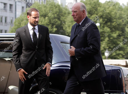 Harald V, Prince Haakon Norway's King Harald V, right, and Crown Prince Haakon, left, arrive for a memorial to honor the victims of the July 22 bombing and shooting massacre, at the parliament in Oslo, . Parliament speaker Dag Terje Andersen read the names of the victims as lawmakers, Cabinet ministers, King Harald and Crown Prince Haakon stood in silence