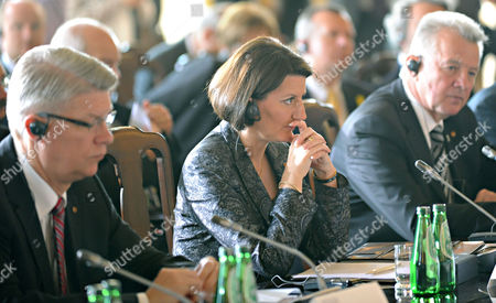 Valdis Zatlers, Atifete Jahjaga, Pal Schmitt Presidents of Latvia Valdis Zatlers, left, Kosovo Atifete Jahjaga and Hungary Pal Schmitt, right, attend a plenary session during a presidential summit at the Royal Castle in Warsaw, Poland, . The presence of Jahjaga caused presidents of Serbia and Romania to boycott the summit