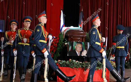 The Honor Guard march during a farewell ceremony for Abkhazia's separatist President Sergei Bagapsh in Moscow, Russia, . Bagapsh died in hospital on Sunday, May 29, aged 62