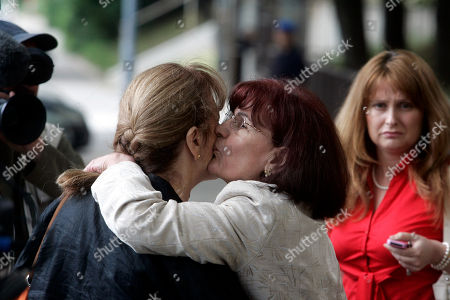Bosiljka Mladic, BIljana Mladic Bosiljka Mladic, Ratko Mladic's wife, center, kisses an unidentified woman, left, as Biljana Mladic, Ratko Mladic's daughter in-law, looks on in front of the Special Court building where Mladic is being held in Belgrade, Serbia, . Ratko Mladic claims he had nothing to do with the massacre of 8000 men and boys in the Bosnian town of Srebrenica when it fell during the 1992-1995 war, his son said Sunday