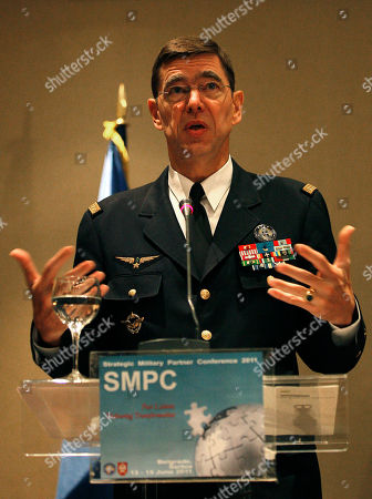 Stephane Abrial General Stephane Abrial, NATO's Supreme Allied Commander Transformation (SACT) of France, gestures during a press conference, in Belgrade, Serbia, . NATO held its annual conference in Belgrade in a sign of improving ties with the country the alliance bombed in 1999 over Kosovo