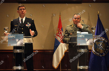 Stephane Abrial, Miloje Miletic General Stephane Abrial, NATO's Supreme Allied Commander Transformation (SACT) of France, left, gestures during a press conference with Serbia's army chief Lt. Col. Gen. Miloje Miletic, right, in Belgrade, Serbia, . NATO held its annual conference in Belgrade in a sign of improving ties with the country the alliance bombed in 1999 over Kosovo
