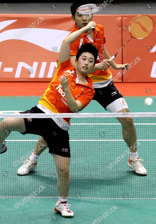 Yang Yu, He Hanbin Yu Yang, front, and He Hanbin of China compete against compatriots Zhang Nan and Zhao Yunlei during the Li-Ning Singapore Open Badminton tournament mixed doubles quarterfinal round held on in Singapore