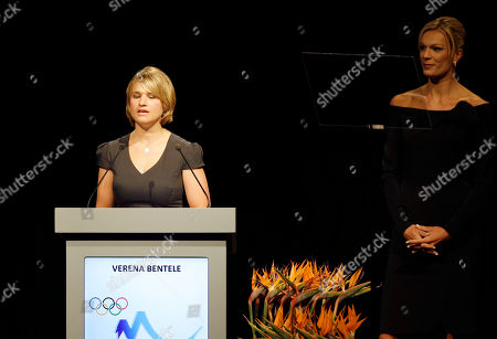 Verena Bentele, Maria Riesch Verena Bentele a blind German Paralympic biathlete and cross-country skier, left, speaks as Maria Riesch, Munich 2018 ambassador, double Olympic champion, right, looks on during their presentation at the 123rd IOC session in support of Munich's bid to host the 2018 Winter Games in Durban, South Africa, .. The International Olympic Committee will announce the host city for the 2018 Winter Olympics in Durban. The IOC members will choose between three candidates Annecy, France; Munich Germany; and Pyeongchang, South Korea for the 2018 host