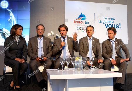 Charles Beigbeder, Pernilla Wiberg, Denis Masseglia, Jean-Luc Rigaut, Jean-Pierre Vidal Charles Beigbeder, president of Annecy 2018, center, speaks as Pernilla Wiberg, double Olympic Champion, left, with Denis Masseglia, President of the French National Olympic Committee, second left, Jean-Luc Rigaut, Mayor of Annecy, second right, and Jean-Pierre Vidal, Olympic Gold Medalist, right, look on during their media conference in Durban, South Africa, . International Olympic Committee President Jacques Rogge on July 6, 2011 in Durban, will announce the name of the host city of the XXIII Olympic Winter Games
