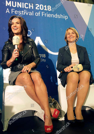 German Olympic champion and former figure skater Katarina Witt, left, speaks during a press conference, with German Paralympic champion and biathlete Verena Bentele, centre, in the city of Durban, South Africa, . Munich has called in German football great Franz Beckenbauer for its final push to host the 2018 Winter Olympics. Munich Bid Committee Chair Katarina Witt says Beckenbauer will arrive in Durban on Tuesday, a day before IOC members vote on whether Munich; Annecy, France; or Pyeongchang, South Korea will stage the games