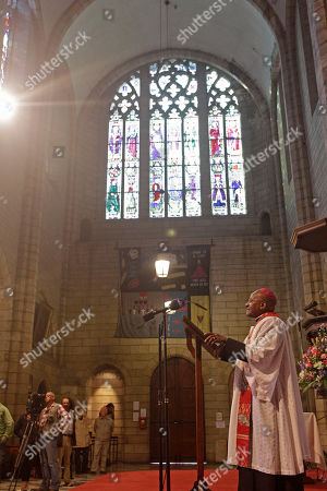 South African Archbishop Desmond Tutu during a memorial for Albertina Sisulu, wife of South African anti apartheid leader Walter Sisulu in Cape Town, South Africa, . Albertina Sisulu, a leading figure during the struggle against apartheid by South African women, died at the age of 92