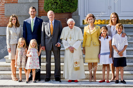 Princess Letizia, Prince Felipe, Princess Leonor, Princess Sofia, King Juan Carlos, Pope Benedict XVI, Queen Sofia, Princess Victoria Federica, Princess Elena, Prince Froilan Pope Benedict XVI, center, poses with the Spanish Royal Family before a meeting at the Zarzuela Palace in Madrid, . The Pontiff is in Madrid for a four-day visit on the occasion of the Catholic Church's World Youth Day. From left, Spain Princess Letizia, Spain's Crown Prince Felipe with her daughters Princess Leonor, and Princess Sofia, Spain's King Juan Carlos, Pope Benedict XVI, Spain's Queen Sofia, Princess Victoria Federica, Princess Elena, and Prince Froilan