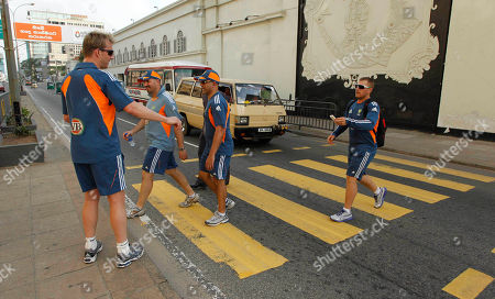 Stock Picture of Brett Lee, John Davison Members of the Australian T20 cricket team Brett Lee left, and John Davison, right, cross a road after a training session at Galle Face Green, a public sea promenade in Colombo, Sri Lanka, . Sri Lanka and Australia play two T20 matches, on Aug. 6 and 8 prior to the One Day International (ODI) series which begins on Aug. 10, followed by a test series beginning Aug. 31