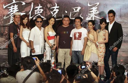 """Ma Ru-Long, Vivian Hsu, Huang Chih-Ming, Wei Te-Sheng, Law Meh Ling, Landy Wen, Ma Zhi-Xiang Staff and cast members of Taiwanese historical drama film""""Seediq Bale"""" pose together during a media conference in Taipei, Taiwan, . They are, from left, actor Wu Peng-Feng, Japanese actress Chie Tanaka, actors Ma Ru-Long, Vivian Hsu, producer Huang Chih-Ming, director Wei Te-Sheng, actresses Law Meh Ling, Landy Wen and actor Ma Zhi-Xiang. The film has been selected as one of the films in competition at the 68th Venice International Film Festival and will show there on Sept. 1"""